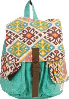 The House Of Tara Canvas Herringbone And Ikkat Print Bag 16 L Medium Backpack Multicolor, Size - 350