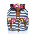 Shaun Design Canvas Bag Backpack - White, Blue