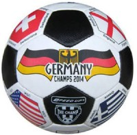 Speed Up Multi Flag Kick Off Leatherite Football -   Size: 5,  Diameter: 30 Cm (Pack Of 1, Multicolor)