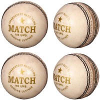 Priya Sports White Cric Cricket Ball -   Size: 5,  Diameter: 2.5 Cm (Pack Of 4, White)