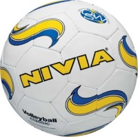Nivia Classic Volleyball -   Size: 4,  Diameter: 18 Cm (Pack Of 1, White, Blue, Yellow)