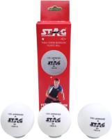 Stag 1 Star Plastic Tennis Ball -   Size: 4,  Diameter: 4 Cm (Pack Of 3, White)