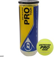 Dunlop Pro Tour Tennis Ball - Size: 0, Diameter: 2.5 Cm (Pack Of 12, Yellow)