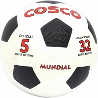 Cosco Mundial Football -   Size: 5,  Diameter: 22 Cm (Pack Of 1, White)