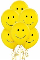 PartyballoonsHK Printed Yellow Smiley Face (pack Of 30) Balloon (Yellow, Pack Of 30)