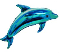 Awesomedaysin Dolphin Shape Foil Solid Balloon (Blue, Pack Of 10)