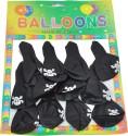 SNB 12pc Black Pirate Printed Balloon - Black, Pack Of 1