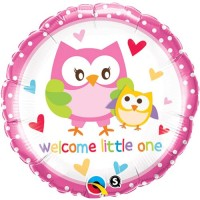 Qualatex Welcome Little One Owls Printed Balloon (Pink, Pack Of 1)