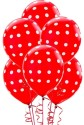 Themez Only Polka Dots Printed Balloon - Red, White, Pack Of 25