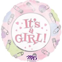 Anagram It'S A Girl Dots & Pins Printed Balloon (Multicolor, Pack Of 1)