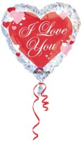 Anagram I Love You Script With Hearts Printed Balloon (Multicolor, Pack Of 1)