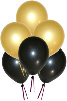 GrandShop Metallic HD Solid Balloon (Black, Gold, Pack Of 50)