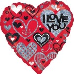 Anagram Love You Black & Red Sparkles 18 inches