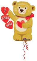 Anagram Love Bear Hearts Printed Balloon (Multicolor, Pack Of 1)