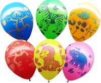 Ziggle Animal Party Printed Balloon (Multicolor, Pack Of 25)