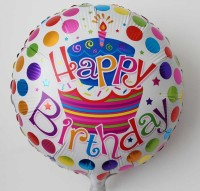 Funcart Round Happy Birthday Polkadots Foil Printed Balloon (Multicolor, Pack Of 1)