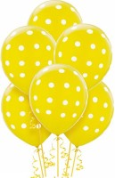 PartyballoonsHK Printed Yellow Polka Dot ( Pack Of 30) Balloon (Yellow, Pack Of 30)