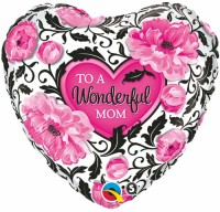 Qualatex To A Wonderful Mom Floral Heart Printed Balloon (Pink, Pack Of 1)