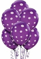 PartyballoonsHK Printed Purple Polka Dot ( Pack Of 30) Balloon (Purple, Pack Of 30)