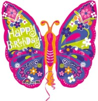 Anagram Happy Birthday Beautiful Butterfly Printed Balloon (Multicolor, Pack Of 1)