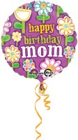 Anagram Happy Birthday Mom Floaral Printed Balloon (Multicolor, Pack Of 1)