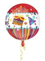 Anagram Hbd Stripes And Bursts Orbz Printed Balloon (Multicolor, Pack Of 1)