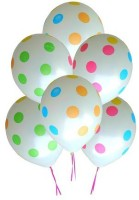 GrandShop Polka Dots Printed Balloon (White, Pack Of 10)