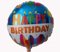 Funcart Round Happy Birthday Candles Foil Printed Balloon (Multicolor, Pack Of 1)