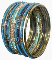Pearls India Metal, Glass, Cotton Dori Bangle Set Pack Of 13