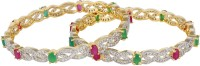 Affinity Beautiful Red Green Stone CZ Studded Alloy, Silver Cubic Zirconia 22K Yellow Gold Plated Bangle Set Pack Of 2