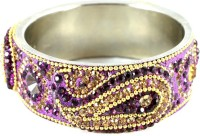 The Fine World Voilet Broad Kada With The Traditional Ambi Pattern Finished Metal Zircon Silver Plated Bangle