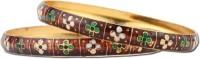 Utsokt Meena Alloy Yellow Gold Plated Bangle Set (Pack Of 2)