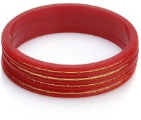 Ratnakar Set Of 4 Red Chudai In Golden Border Acrylic Yellow Gold Plated Bangle Set Pack Of 4