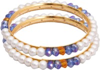 Classique Designer Jewellery Alloy Crystal Rhodium Plated Bangle Set Pack Of 2