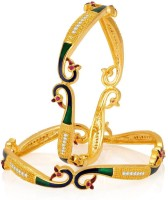 Sukkhi Fashionable Peacock Alloy Yellow Gold Plated Bangle Set Pack Of 2