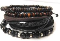Eleganci Eleganci Fashionista Delight Leather Rhodium Plated Charm Bracelet Pack Of 4