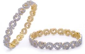 Prisha Copper Zircon Yellow Gold Bangle Set