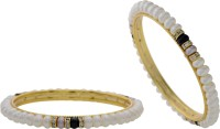 Hyderabad Jewels Alloy, Silver Pearl Rhodium Plated Bangle Set Pack Of 2 - BBAE3YU8NFYSTSW3