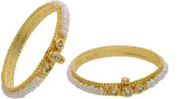 Hyderabad Jewels Alloy, Silver Pearl Rhodium Bangle Set (Pack Of 2)