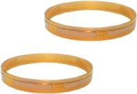Glitterz Sparkling Two Tone Brass Yellow Gold, White Gold Plated Bangle Set Pack Of 2