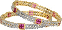 Fabroop White & Purple Stone Studded Bangles Alloy White Gold Plated Bangle Pack Of 2