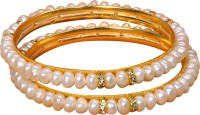 Janki Jewellers Beautiful Alloy Pearl Rhodium Plated Bangle Set Pack Of 2