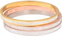 Magic Stones Stainless Steel 23K Yellow Gold, 22K Rose Gold, 22K White Gold Bracelet Set Pack Of 3