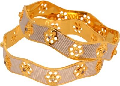 Vendee Fashion Floral Design Brass Bangle Set Pack of 2