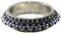 The Fine World Stylish Single Of Kada Finished With Stones And Beads Metal Zircon Silver Plated Bangle