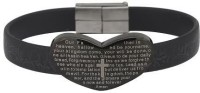 Vaishnavi Beautiful Heart Shape Bible Cross Design 316L Surgical Stainless Steel, Leather Bracelet