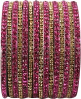 Newsantosh Colourful Bollywood Style Alloy Crystal Rhodium Plated Bangle Set Pack Of 15