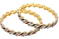 Aabhushan Jewels Alloy Cubic Zirconia Rhodium Bangle Set Pack Of 2