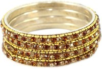 The Fine World Set Of Shining Golden And Copper Chudi Metal Zircon Brass Plated Bangle Set Pack Of 4