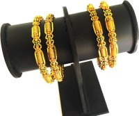 Gorgious Delicious Bangle Brass Yellow Gold Plated Bangle Set Pack Of 4